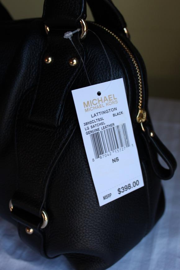 NWT Michael Kors Lattington Satchel bag Purse Leather, Large, Black $