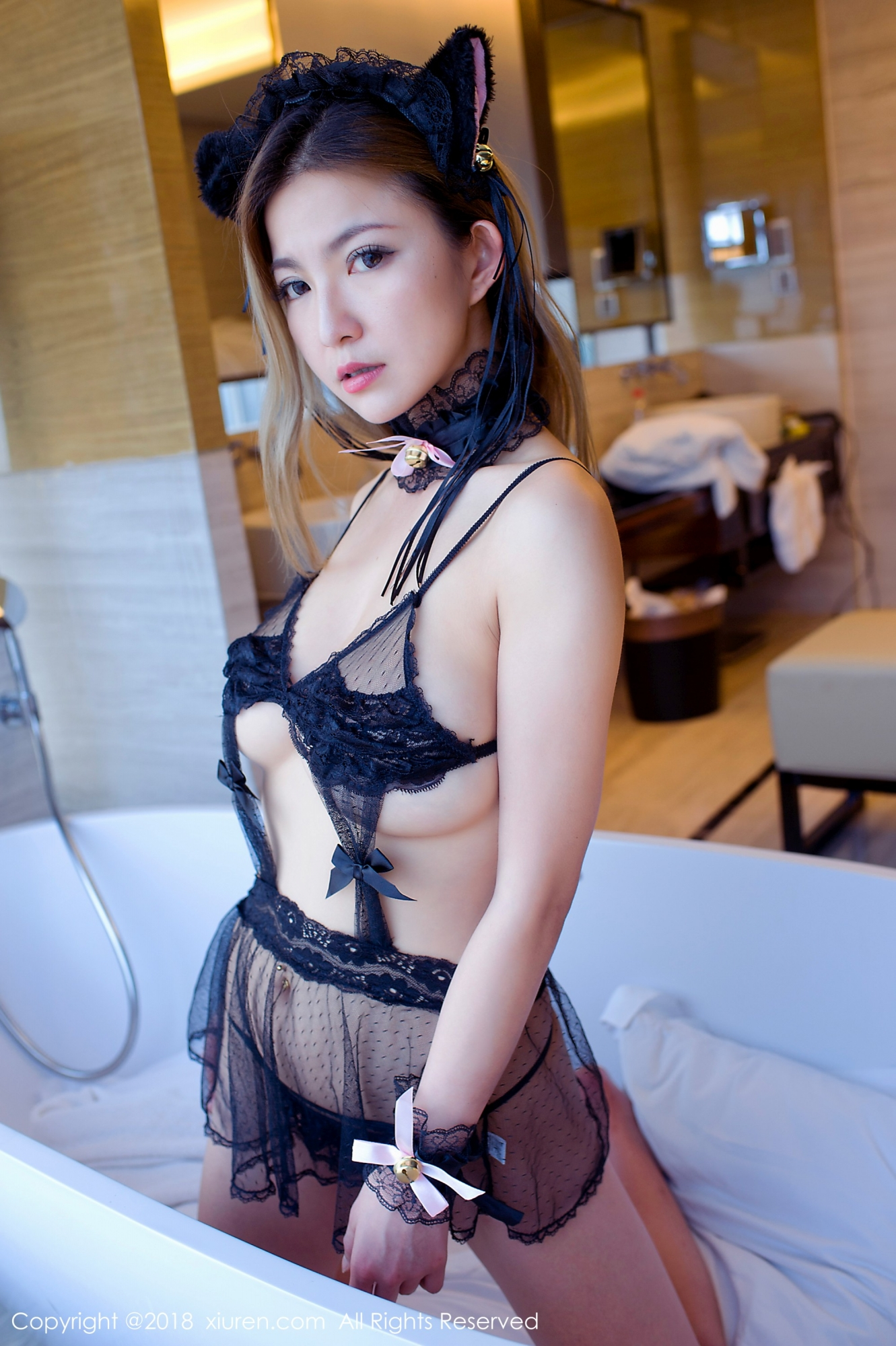erotic cute Chinese in transparent lingerie