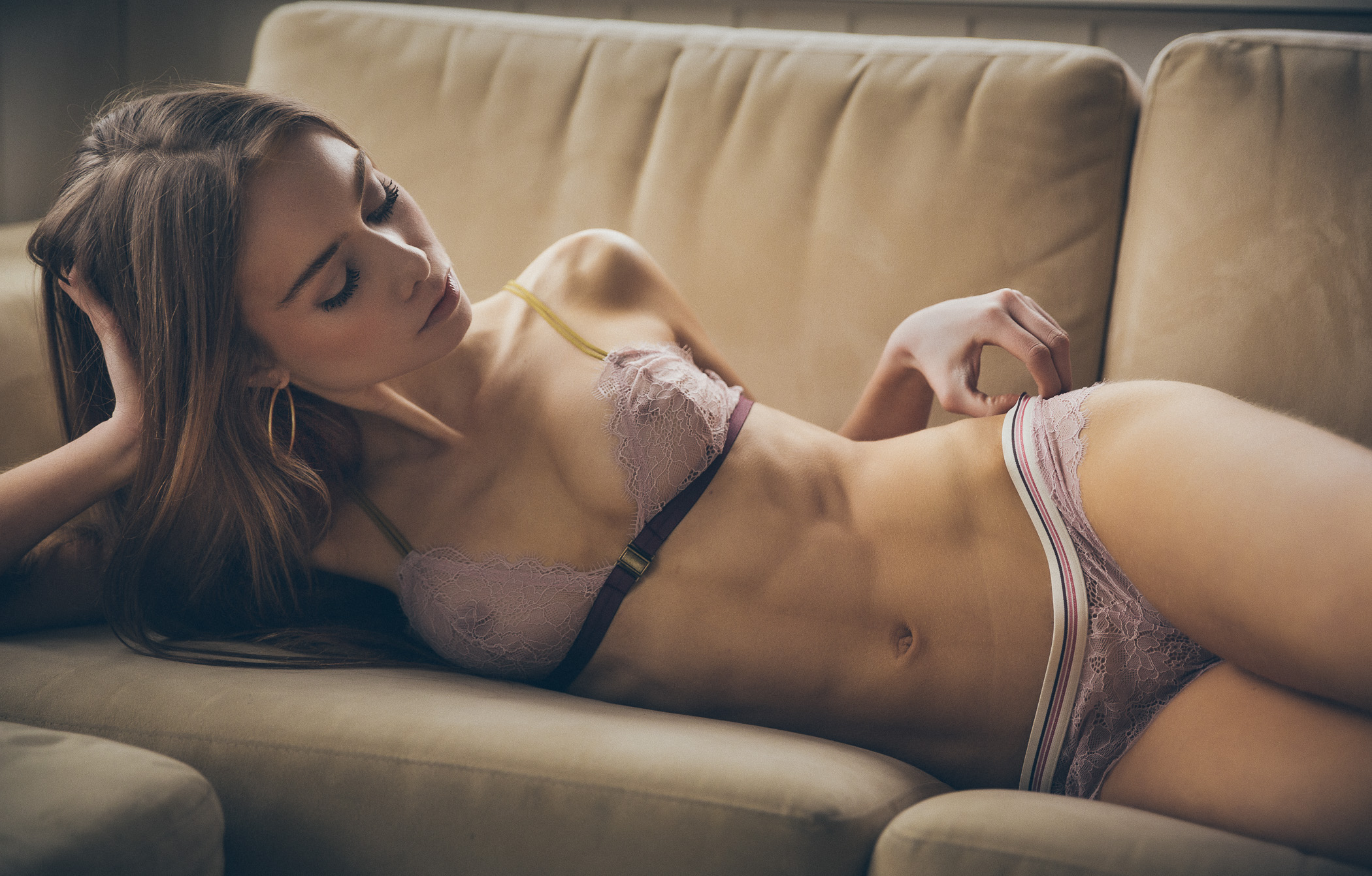 cool girl in see through lingerie