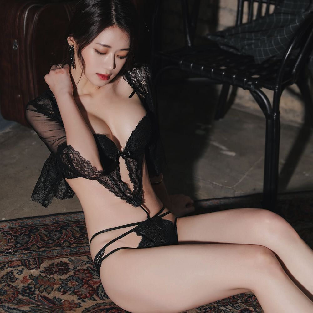 hot Asian girl in sexy lingerie